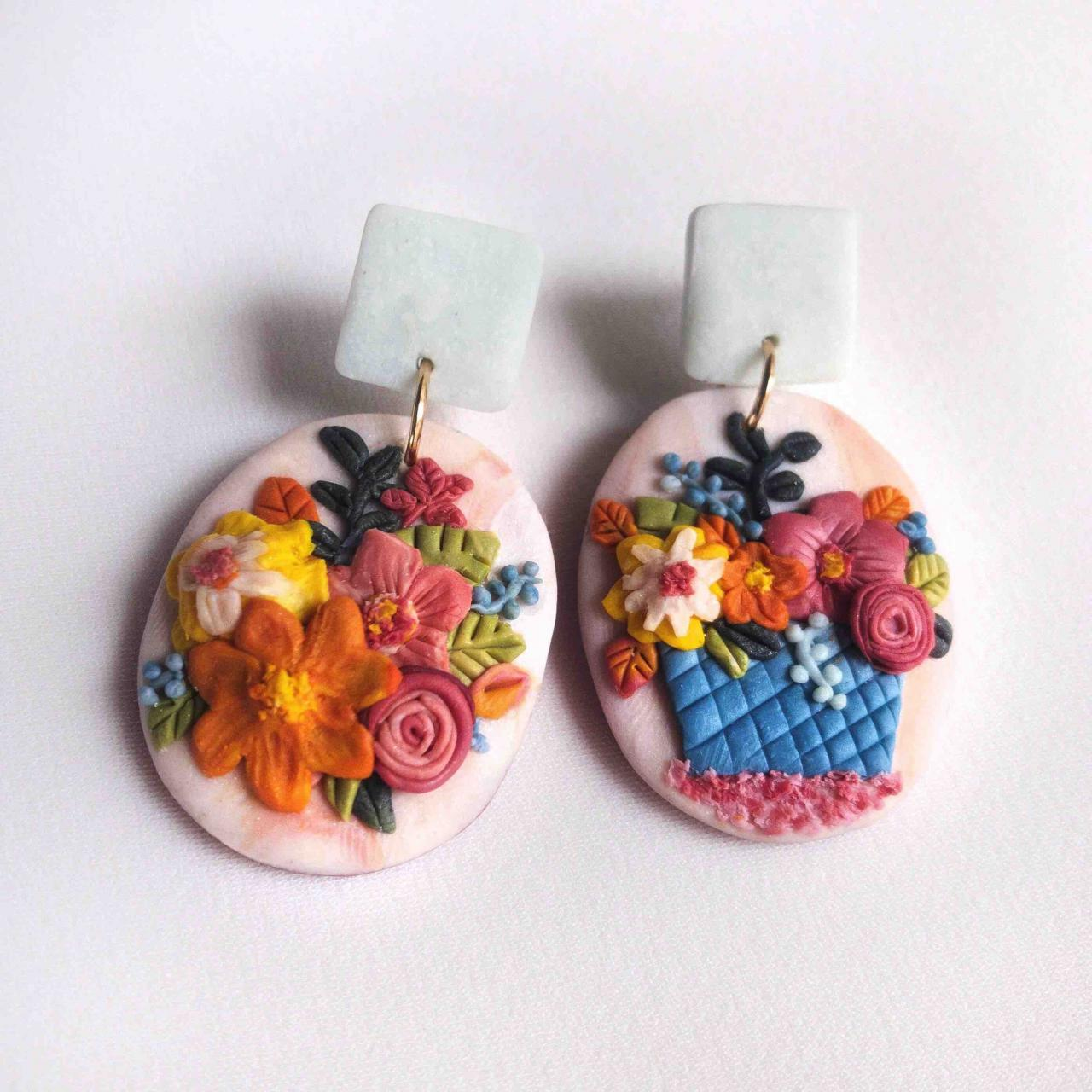 Pink Flower Bucket Polymer Clay Earrings