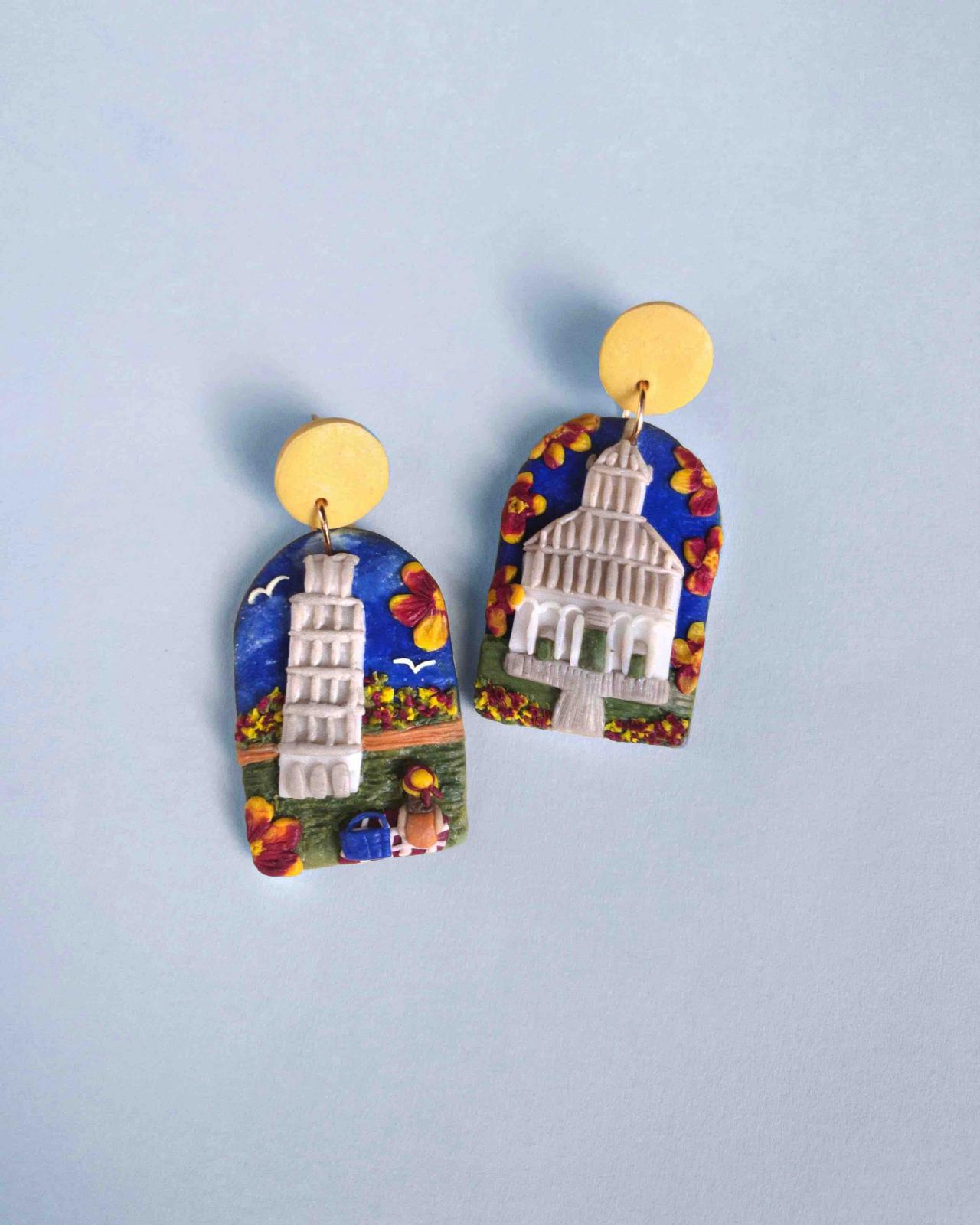 Pisa Italy Polymer Clay Earrings