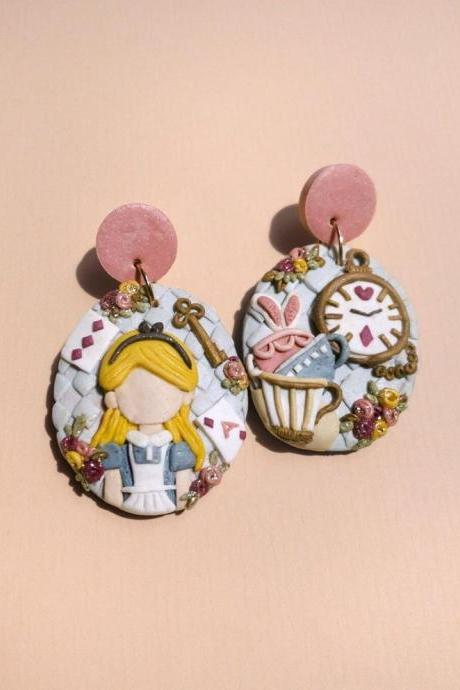 Alice in Wonderland Polymer Clay Earrings
