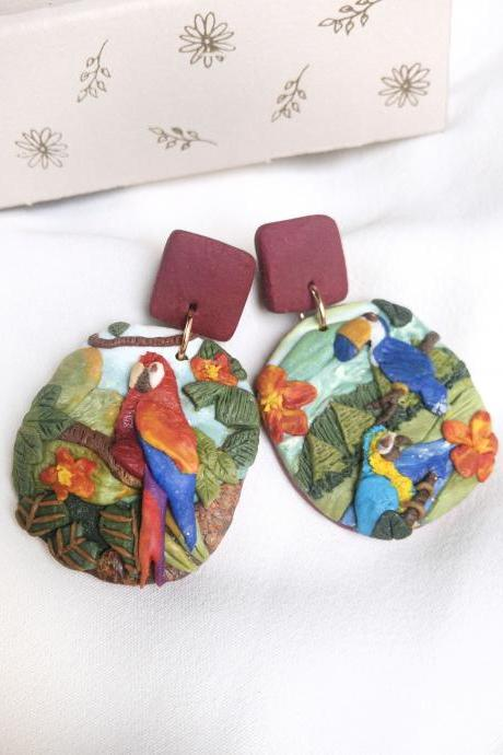Amazon Rainforest Polymer Clay Earrings