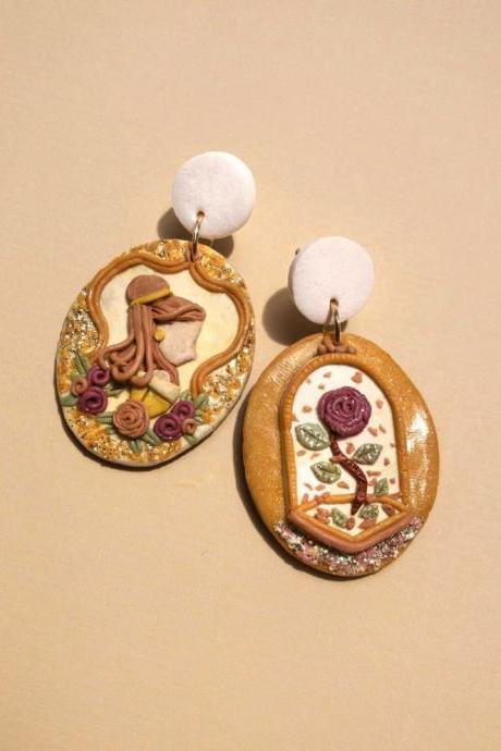 Beauty and the Beast Polymer Clay Earrings