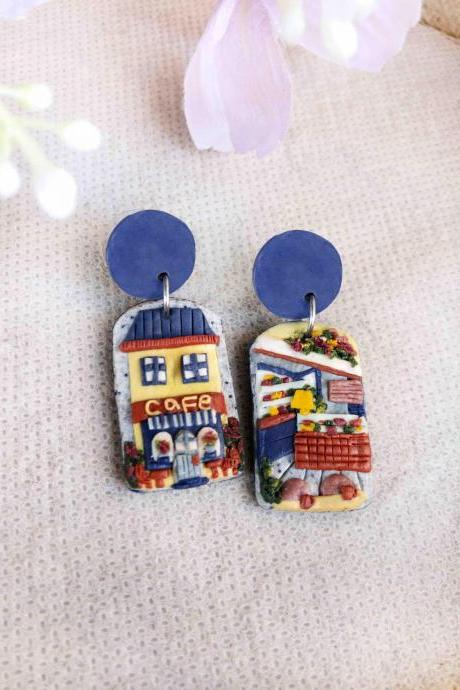 Cafe Polymer Clay Earrings