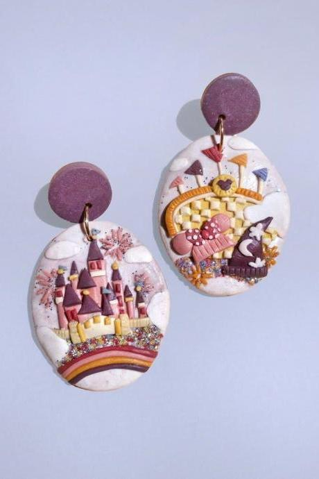 Disneyland Theme Park Polymer Clay Earrings