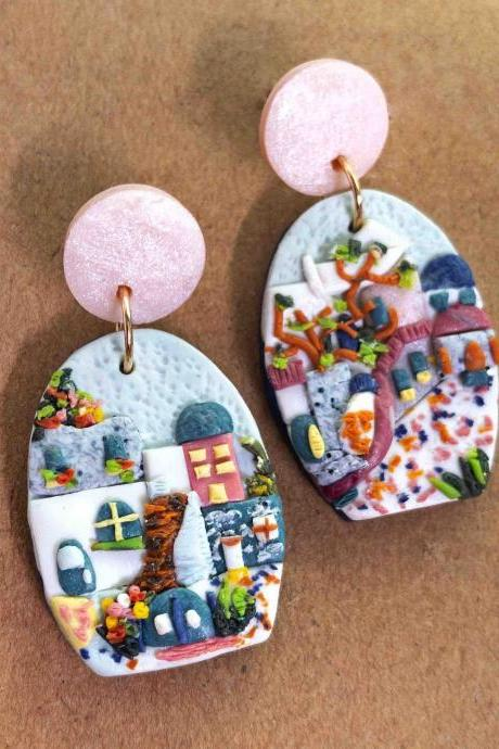 Greece Polymer Clay Earrings