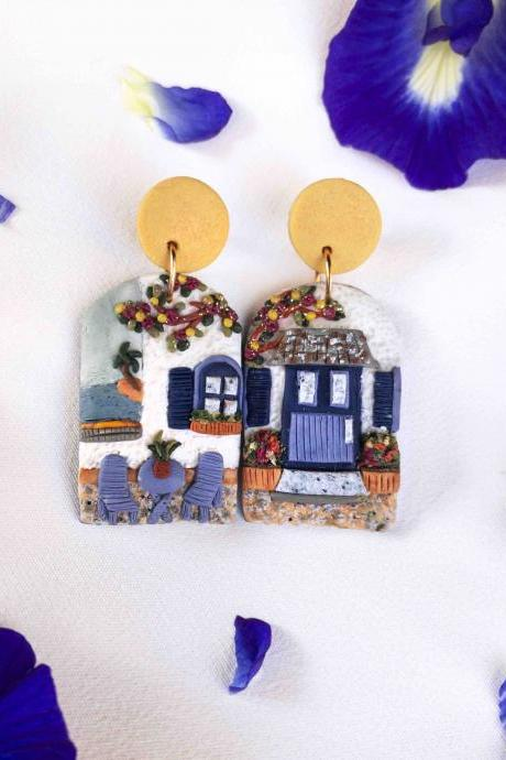 Greek Door Front Polymer Clay Earrings