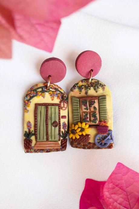 Italy Door Front Polymer Clay Earrings