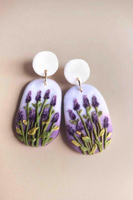 Lavender Field Polymer Clay Earrings
