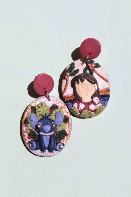 Lilo and Stitch Polymer Clay Earrings