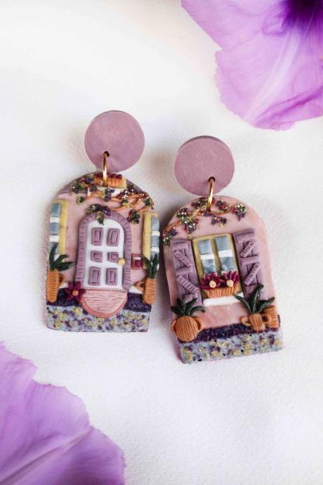 London Door Front Polymer Clay Earrings