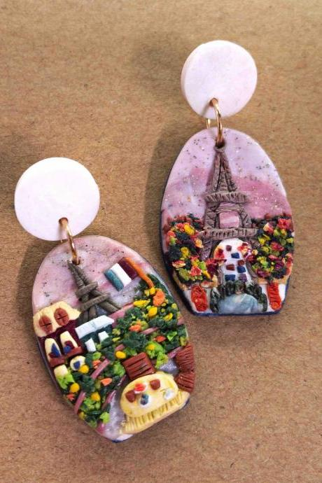 Paris France Polymer Clay Earrings