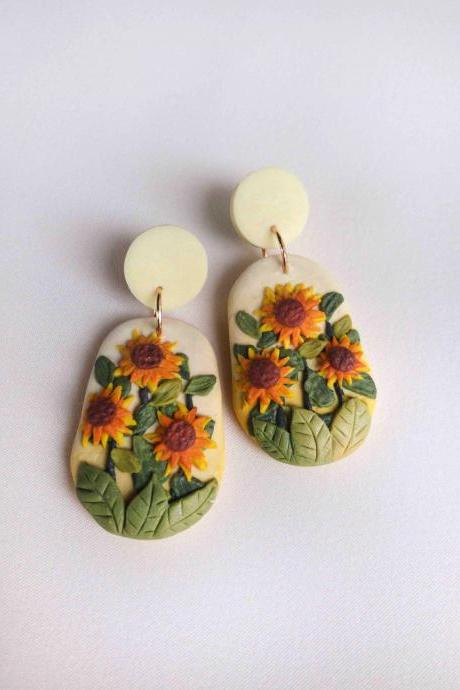 Sunflower Field Polymer Clay Earrings
